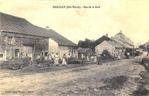 Marcilly France (Hte-Marne) Rue de la Gare Dirt Street View Postcard