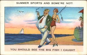 Skinny Bathing Beauty Fat Guy Smoking Cigar - BIG FISH I CAUGHT Postcard