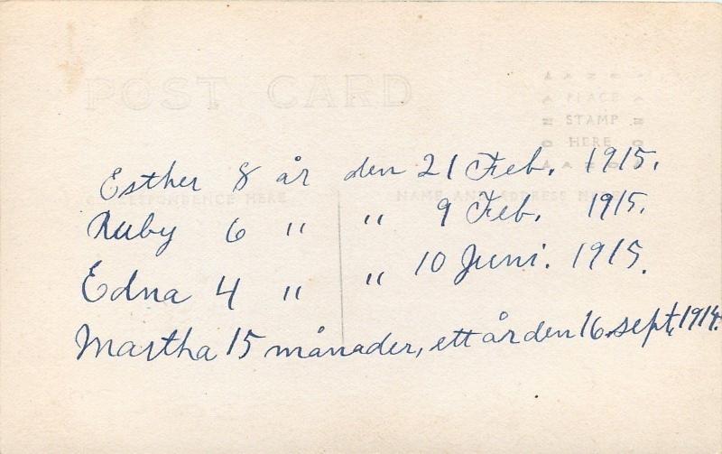 Swedish Family of 6~Esther (8), Ruby (6), Edna (4) & Martha (15 mos) RPPC 1915