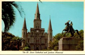 Louisiana New Orleans St Louis Cathedral and Jacksom Memorial