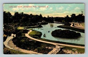 Cleveland OH-Ohio, Lake & Island, Rockefeller Park, Vintage Postcard