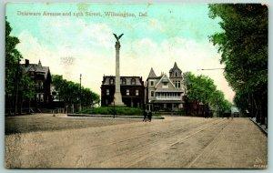 Wilmington DE~64-Foot Civil War Monument~Eagle Stands on Globe~Neighbors c1910