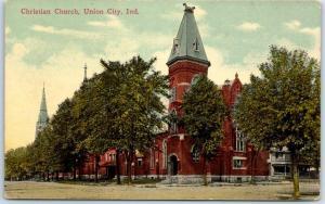 Union City, Indiana Postcard Christian Church Street View c1910s UNUSED