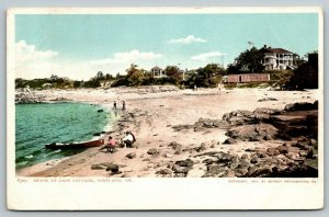 Portland Maine~Folks on Beach @ Cape Cottage~Boat in Bay~1904 Detroit Pub Co