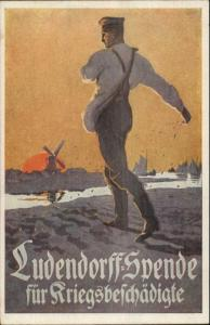 WWI Poster Art German Donation For War-Damaged Farmer Sowing Seeds PC