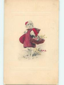 Pre-Linen signed CUTE GIRL CARRYING EASTER EGG AND FLOWER BASKET HJ4309