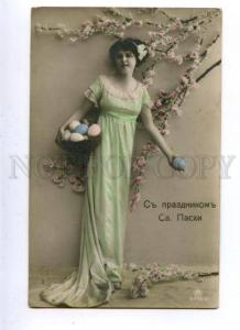 161690 EASTER Woman BELLE Lady w/ Eggs Vintage PHOTO PC