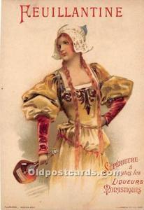 Advertising Postcard - Old Vintage Antique Reuillantine Liqueurs Monastiques ...