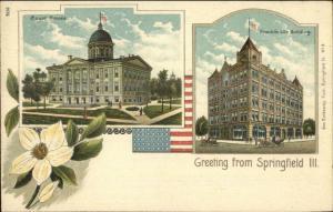 Springfield IL Split View Court & Franklin Life Bldgs c1900 Postcard