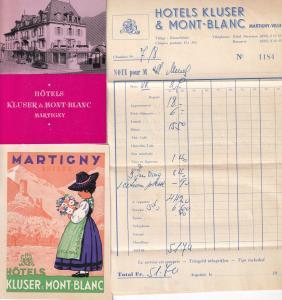 Mont Blanc Hotel Kluser 1950s Martigny Receipt Advertising Ephemera