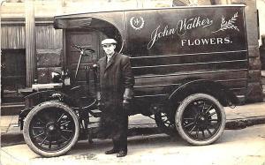 Youngstown OH Carl Strock John Walker Flowers Delivery Truck RPPC Postcard