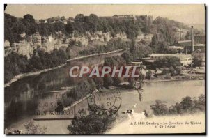 Old Postcard Geneve The junction of the Rhone and the & # 39Arve