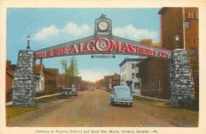 Sault Ste Marie Ontario~Algoma District Entrance Clock Gateway~1940s Cars~PC