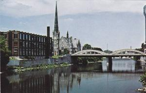 View of the Grand River New Downtown Cambridge, Central Presbyterian Church, ...