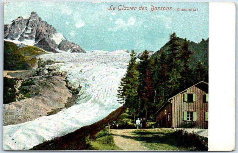 Vintage BOSSONS GLACIER Chamonix France Postcard w/ Lodge View - Unused