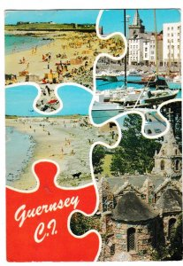 Postcard Channel Islands GUERNSEY 5 views jigsaw
