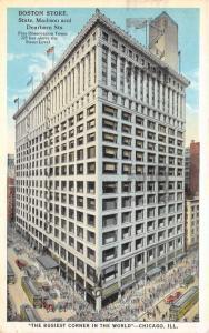 Chicago Illinois~State Madison & Dearborn Streets~Boston Store~1925 Postcard