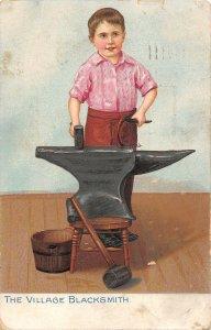 US3404 The Village Blacksmith comic metier job forge child work