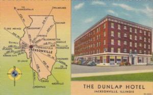 Illinois Jacksonville The Dunlap Hotel 1954 Curteich