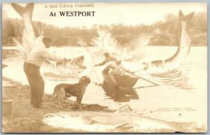WESTPORT CANADA FISHING EXAGGERATED VINTAGE REAL PHOTO POSTCARD RPPC
