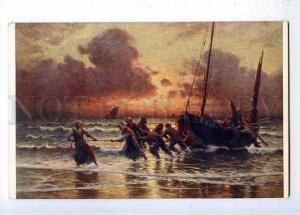 184545 FISHING Boat Storm by MARONIEZ Vintage SALON #647 color