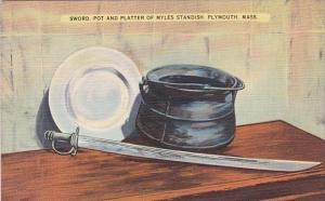 Sword Pot And Platter Of Myles Standish Plymouth Massachusetts