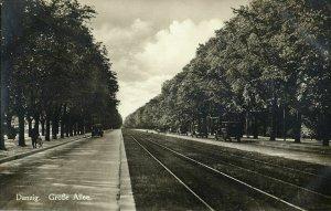 poland, DANZIG GDAŃSK, Große Allee, Cars (1930) RPPC Postcard