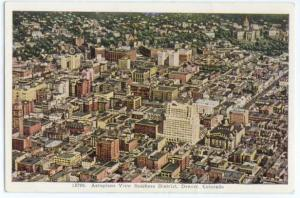 Air View of Business District Denver Colorado CO, Linen