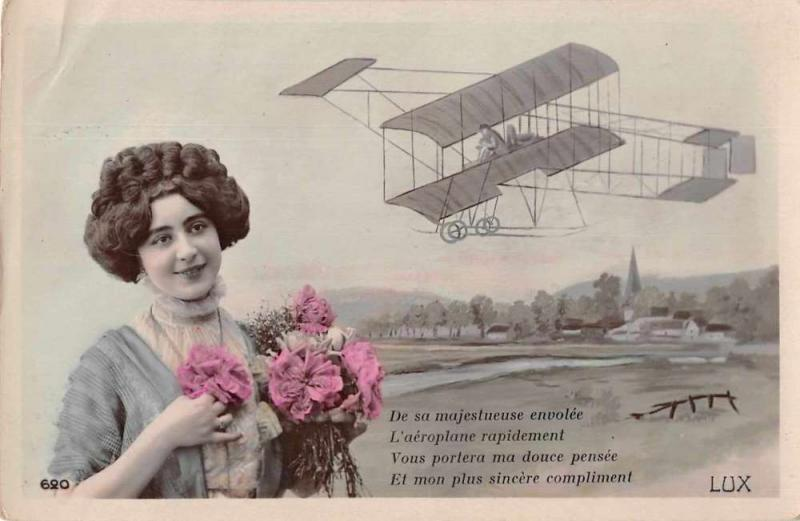 Greetings Woman with Flowers Airplane Tinted Real Photo Antique Postcard J76351
