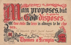 The Less Of Two Evils Man Proposes But God Disposes Proverb Antique Postcard