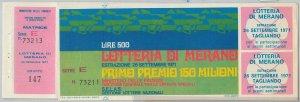 65204  - Vecchio  BIGLIETTO  LOTTERIA di MERANO con MATRICE! 1971