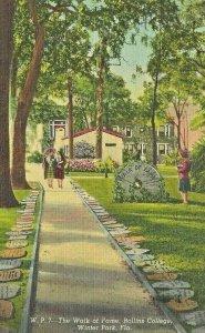 Postcard FL Florida Water Park Walk of Fame Rollins College Posted 1965 Linen
