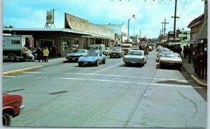 Long Beach, Washington Postcard Main Street Downtown Scene Corvette1970s Unused