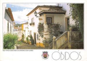 Portugal Obidos, Rua Tipica com Casa com Alpendre Florido