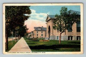 Traverse City MI-Michigan, Sixth Street, Public Library, Vintage c1912 Postcard