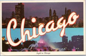 postcard IL Chicago - nightime view of skyline and Buckingham Fountain