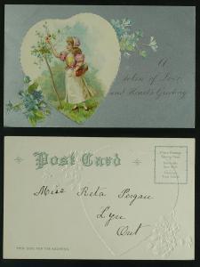 Valentine embossed heart on silver metallic ink field c 1910