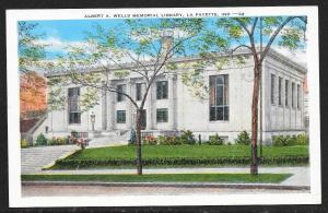 Albert Wells Memorial Library Lafayette Indiana Unused c1920s