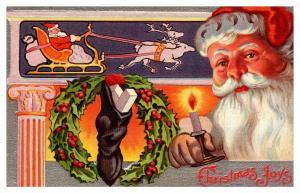 13596  Santa, fire place, Candle