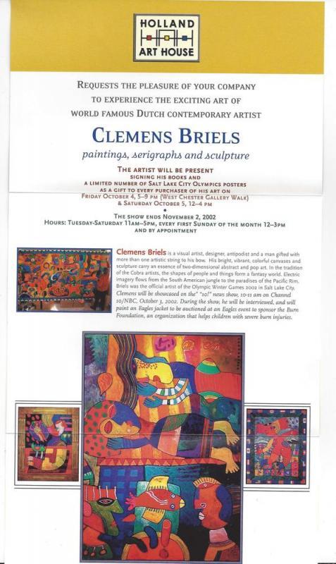 West Chester PA Clemens Briels Art Exhibit Invitation 2002