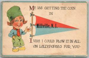 MILLVILLE NJ GREETINGS 1915 ANTIQUE POSTCARD
