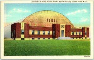 1940s University of North Dakota Postcard Winter Sports Bldg Grand Forks Linen