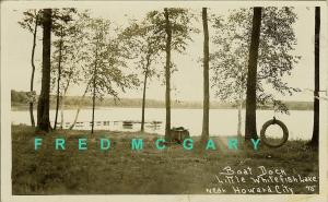1936 Howard Michigan RPPC: Boat Dock, Little Whitefish Lake