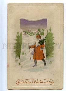 203642 New Year SANTA CLAUS w/ Tree Vintage ART NOUVEAU PC