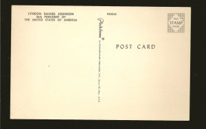 USA Lyndon Baines Johnson 36th President of USA Plastichrome Postcard
