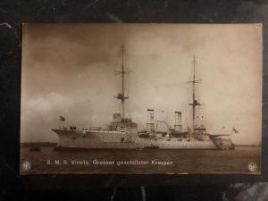 Mint Germany RPPC Postcard SMS Vineta Protected Cruiser Kaiserliche Marine WWI
