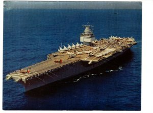 5.5 X 7 inch USS Enterprise, World's Mightiest Aircraft Carrier US Navy Postcard