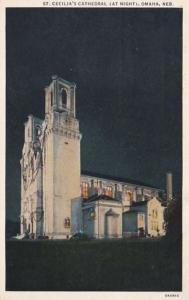 Nebraska Omaha St Cecilia's Cathedral At Night 1936 Curteich
