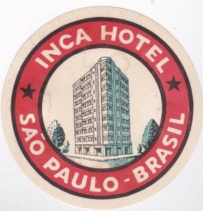 Brasil Sao Paulo Inca Hotel Vintage Luggage Label sk1355