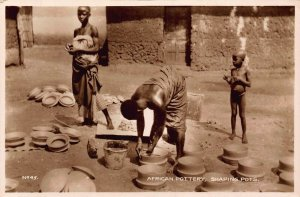 Ghana Gold Coast African pottery ,natives shaping pots real photo Postcard